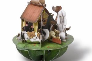 Postal en 3D, perritos